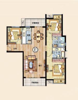 三室E-三室二厅二卫一厨-户型图