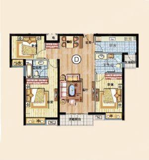 三室D-三室二厅二卫一厨-户型图