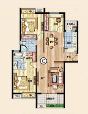 三室C-三室二厅二卫一厨-户型图