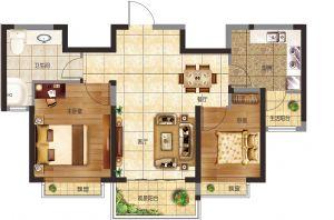 21#-二室二厅二卫一厨-户型图