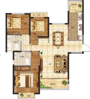 21#-三室二厅二卫一厨-户型图