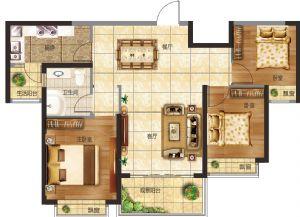 20#-三室二厅一卫一厨-户型图