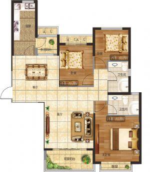 20#-三室二厅二卫一厨-户型图