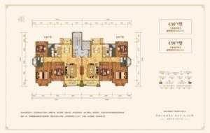 C8户型-三室二厅二卫一厨-户型图