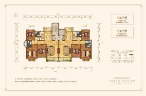 C6户型-三室二厅二卫一厨-户型图