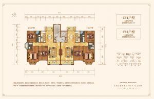 C12户型-三室二厅二卫一厨-户型图