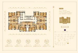 W1,户型-二室一厅一卫一厨-户型图