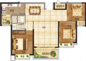 15#三居室-三室二厅一卫一厨-户型图