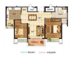 15#两居室-二室二厅一卫一厨-户型图
