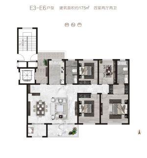 E3-E6户型-四室二厅二卫一厨-户型图