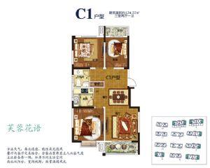C1户型-三室二厅一卫一厨-户型图