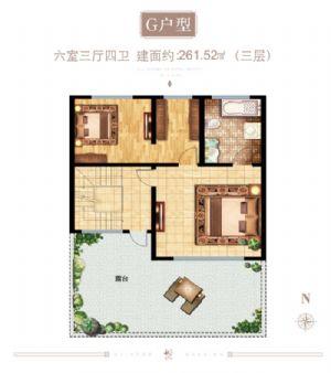 G户型(三层)-六室三厅四卫一厨-户型图
