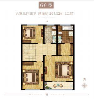 G户型(二层)-六室三厅二卫一厨-户型图