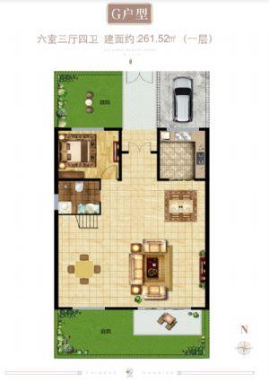 G户型(一层)-六室三厅四卫一厨-户型图