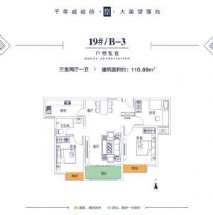 19#B-3-三室二厅一卫一厨-户型图