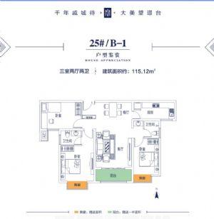 25#B-1-三室二厅二卫一厨-户型图