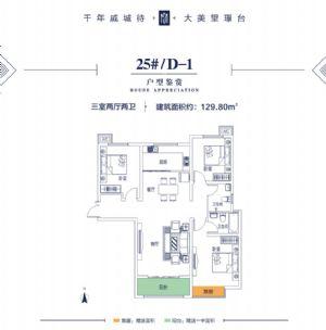 25#D-1-三室二厅二卫一厨-户型图