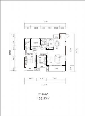 31#A1-130㎡-三室二厅二卫一厨-户型图