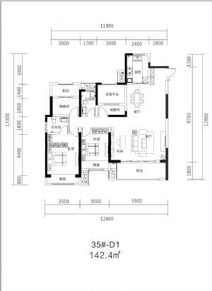 35#D1-140㎡-四室二厅二卫一厨-户型图