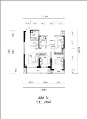 35#B1-110�O-三室二厅二卫一厨-户型图