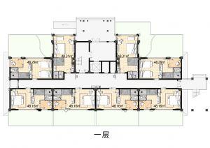 1F-一室厅一卫厨-户型图