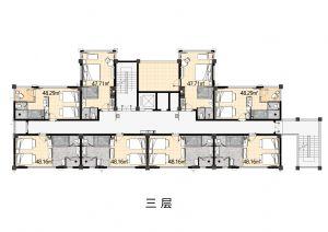 3F-一室厅一卫厨-户型图