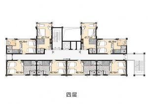 4F-一室厅一卫厨-户型图