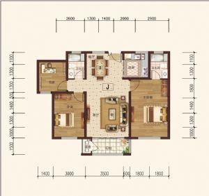 J-三室二厅二卫一厨-户型图