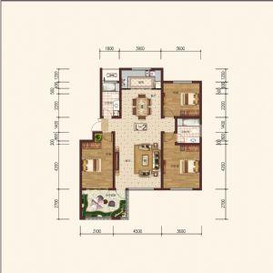 L-2偶-三室二厅二卫一厨-户型图