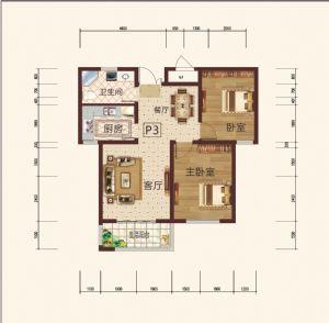 P3-二室二厅一卫一厨-户型图