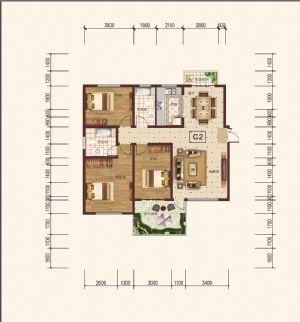 C-2奇-三室二厅一卫一厨-户型图