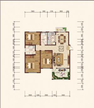 C-2偶-三室二厅二卫一厨-户型图