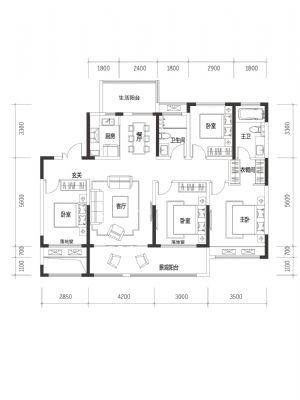 A1-四室二厅二卫一厨-户型图