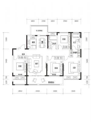 A3-室四厅二卫二厨-户型图