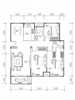 A-5-三室二厅二卫一厨-户型图