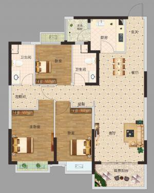 三居室-三室二厅二卫一厨-户型图