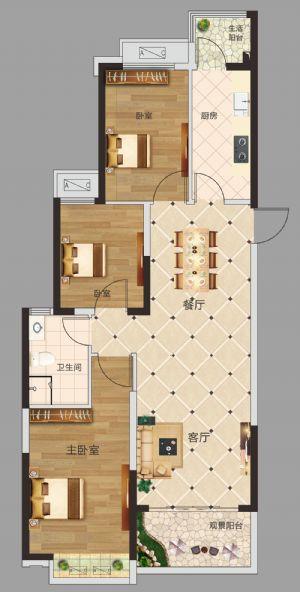 三居室-三室二厅一卫一厨-户型图