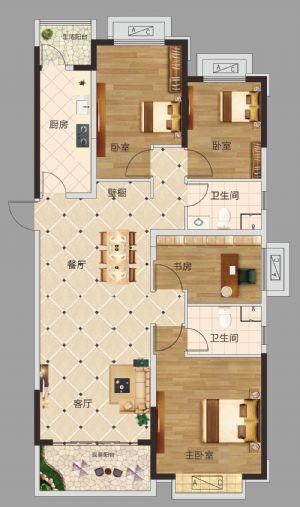 四居室-四室二厅二卫一厨-户型图
