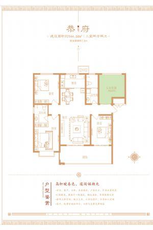 恭府-三室二厅二卫一厨-户型图
