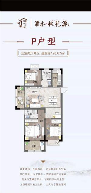 P户型-三室二厅二卫一厨-户型图