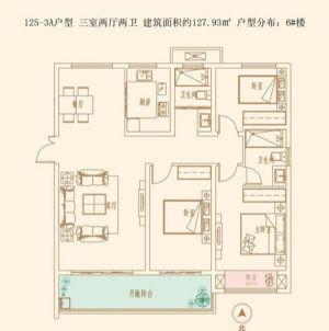 3A户型-三室厅二卫二厨-户型图