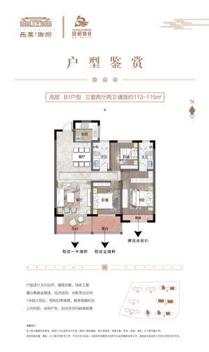 高层B1户型-三室二厅二卫一厨-户型图