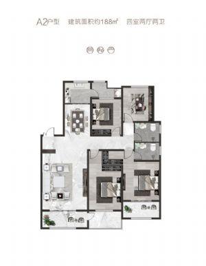 A2户型-四室二厅二卫一厨-户型图