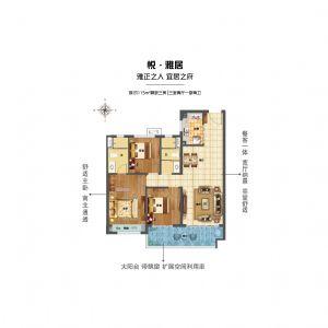 悦雅居-三室二厅二卫一厨-户型图