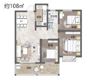 3室户型-三室二厅一卫一厨-户型图