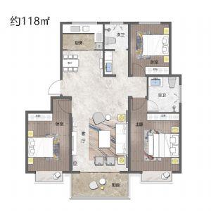 3室户型-三室二厅二卫一厨-户型图