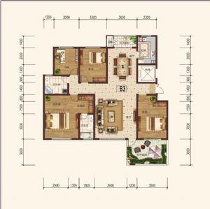 B-3偶-四室二厅二卫一厨-户型图