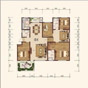 B-4偶-四室二厅三卫一厨-户型图