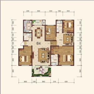 B-4奇-四室二厅三卫一厨-户型图