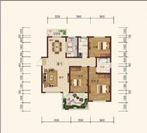 G-1偶-三室二厅二卫一厨-户型图